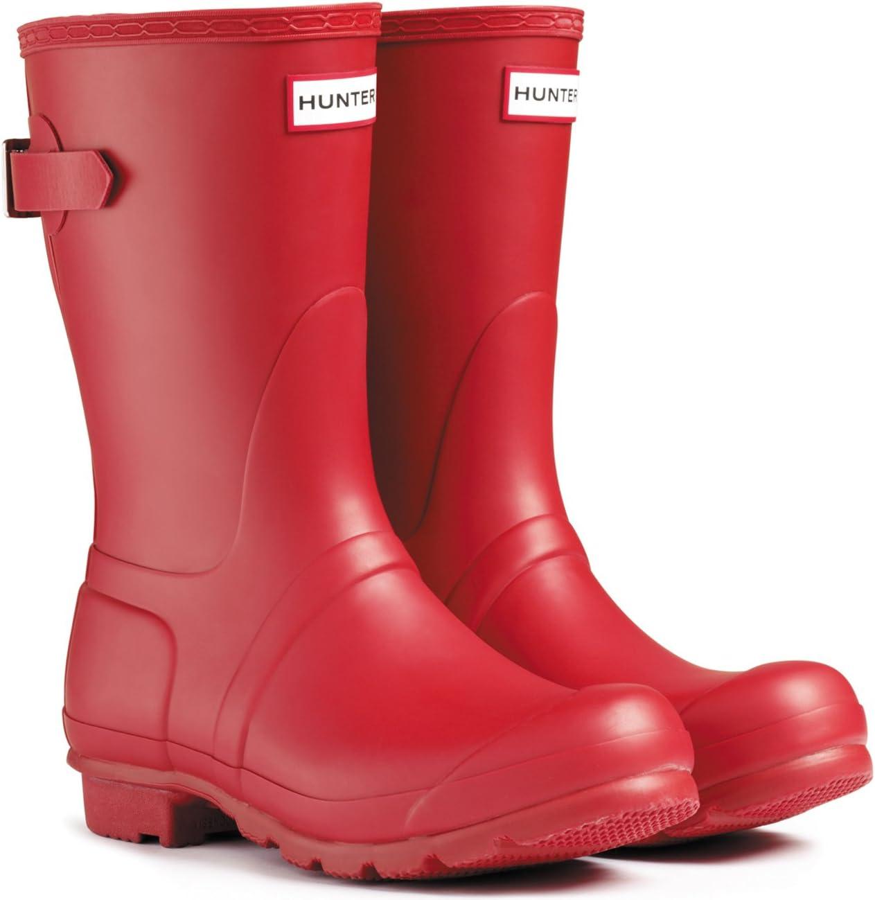 ハンターWomens Original Short Back Adjustable Rain Boots レッド