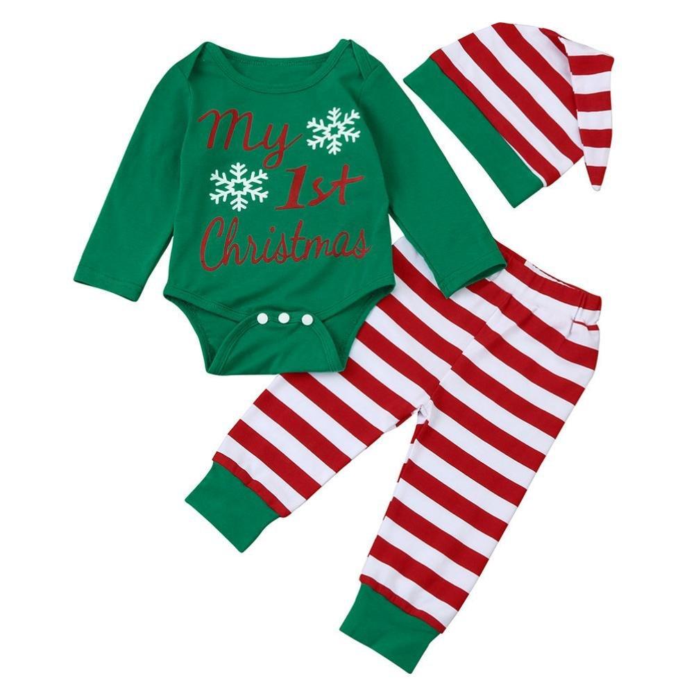 Babykleidung,Honestyi Neugeborene Baby Boy Girl Spielanzug Tops + Gestreifte Hosen + Hut Christmas Outfits Set (Grün, 3M/70CM)