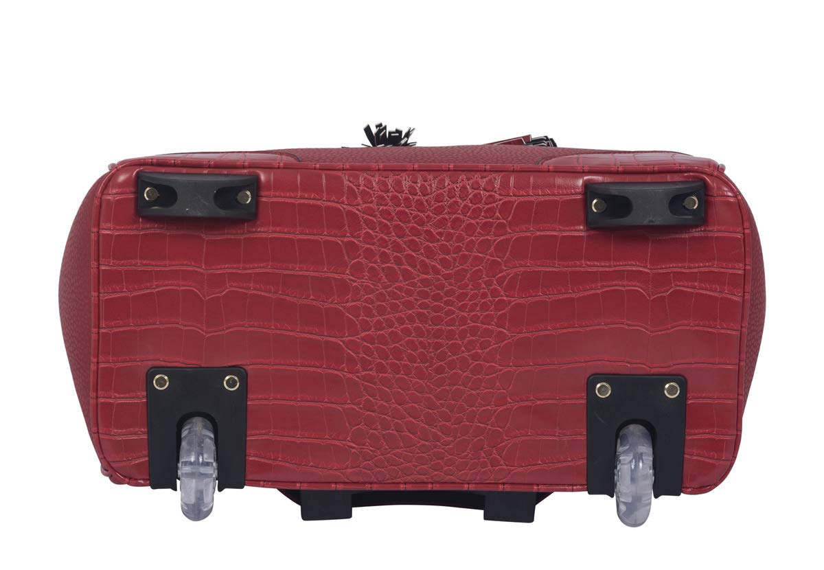 Laptop Tablet Rolling Tote Bag Briefcase Carryall Bag JKM and Company The Phoenix Red Alligator Faux Leather Compatible with Computer iPad