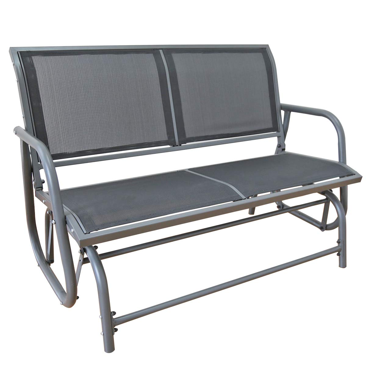 Yardeen Swing Glider Chair Patio Loveseat Rocking Bench Garden Porch Seating, Double Grey Mesh