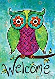 Toland Home Garden Rainbow Owl 28 x 40 Inch Decorative Colorful Welcome Bird Branch House Flag