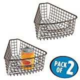 wedge pasta basket - mDesign Lazy Susan Wire Storage Basket with Handle for Kitchen Cabinets, Pantry - Pack of 2, 1/8 Wedge, Bronze