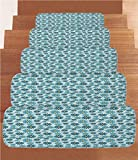 iPrint Non-Slip Carpets Stair Treads,Animal Print Decor,Daisy Flowers Blooms On Geometric Curvy Tilted Stripes Artful Design Illustration,Blue Yellow,(Set of 5) 8.6''x27.5''
