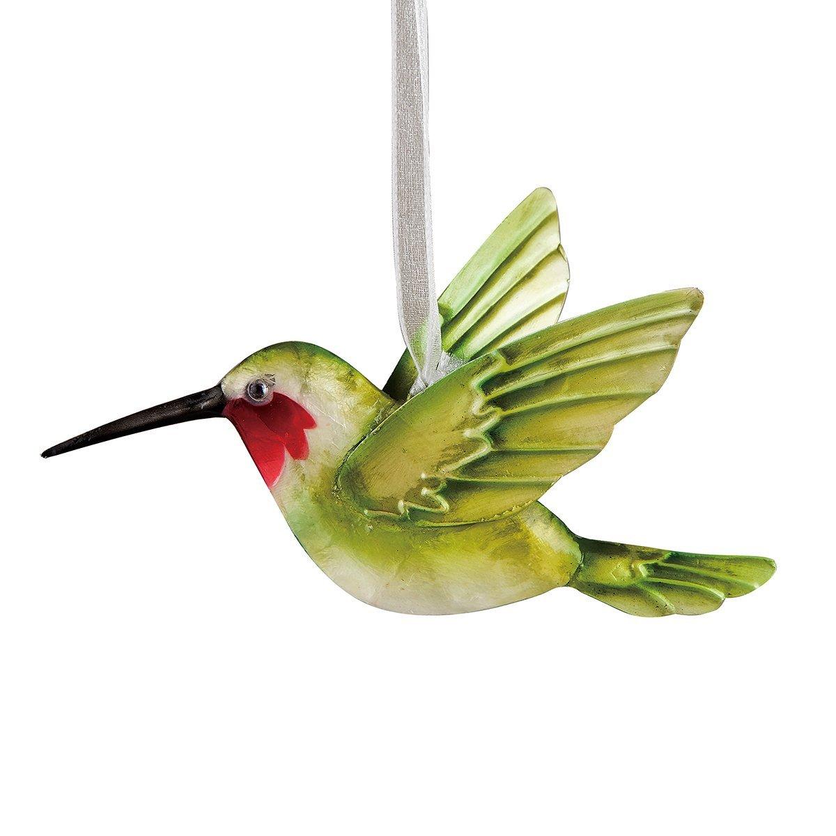 Beautiful Capiz Pearlized Hummingbird Christmas Ornament 5.5