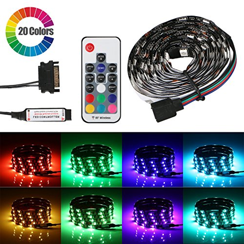 EEEKit Bias Lighting, RGB LED Light Strip Kit Backlight, Flexible Strips LED Lamp with RF Remote Controller for PC Computer Case Adhesive Tape DC
