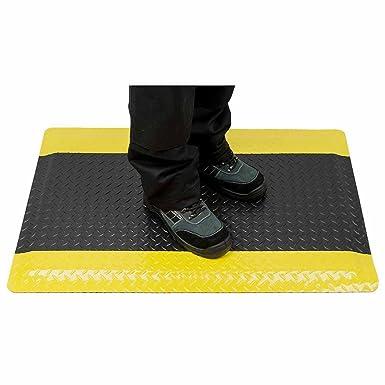 Warnstreifen Arbeitsplatzmatte Anti-Erm/üdungsmatte Softer-Work-Mat Schwarz-Gelb 90x250 cm
