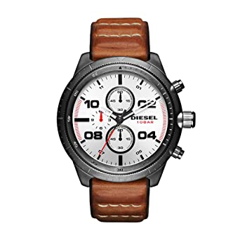 Diesel Mens DZ4438 Padlock Gunmetal IP Brown Leather Watch