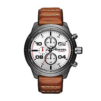 Diesel Mens DZ4438 Padlock Gunmetal IP Brown Leather Watch