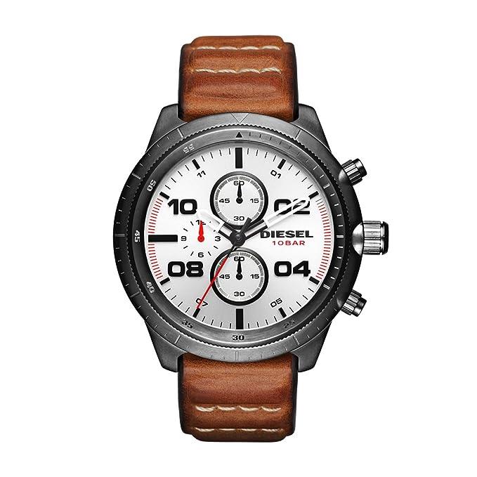 Amazon.com: Diesel Mens DZ4438 Padlock Gunmetal IP Brown Leather Watch: Watches