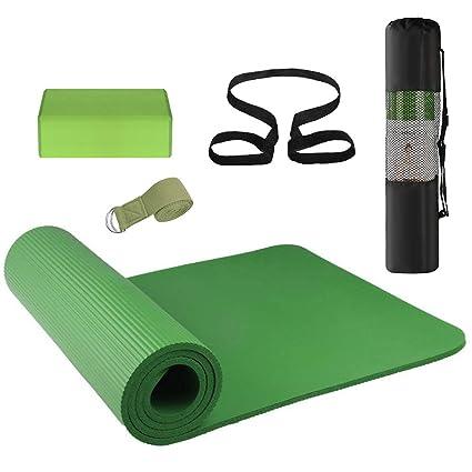 Lixada 3 Piezas Conjunto de Equipo de Yoga, Tapete de Yoga, Bloque de Yoga, Banda Elástica, Bolsa de Práctica para Principiantes de Yoga y Almohadilla ...