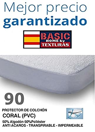 Basic Home Protector de Colchón CORALINA Impermeable y Transpirable 90X190/200+23: Amazon.es: Hogar