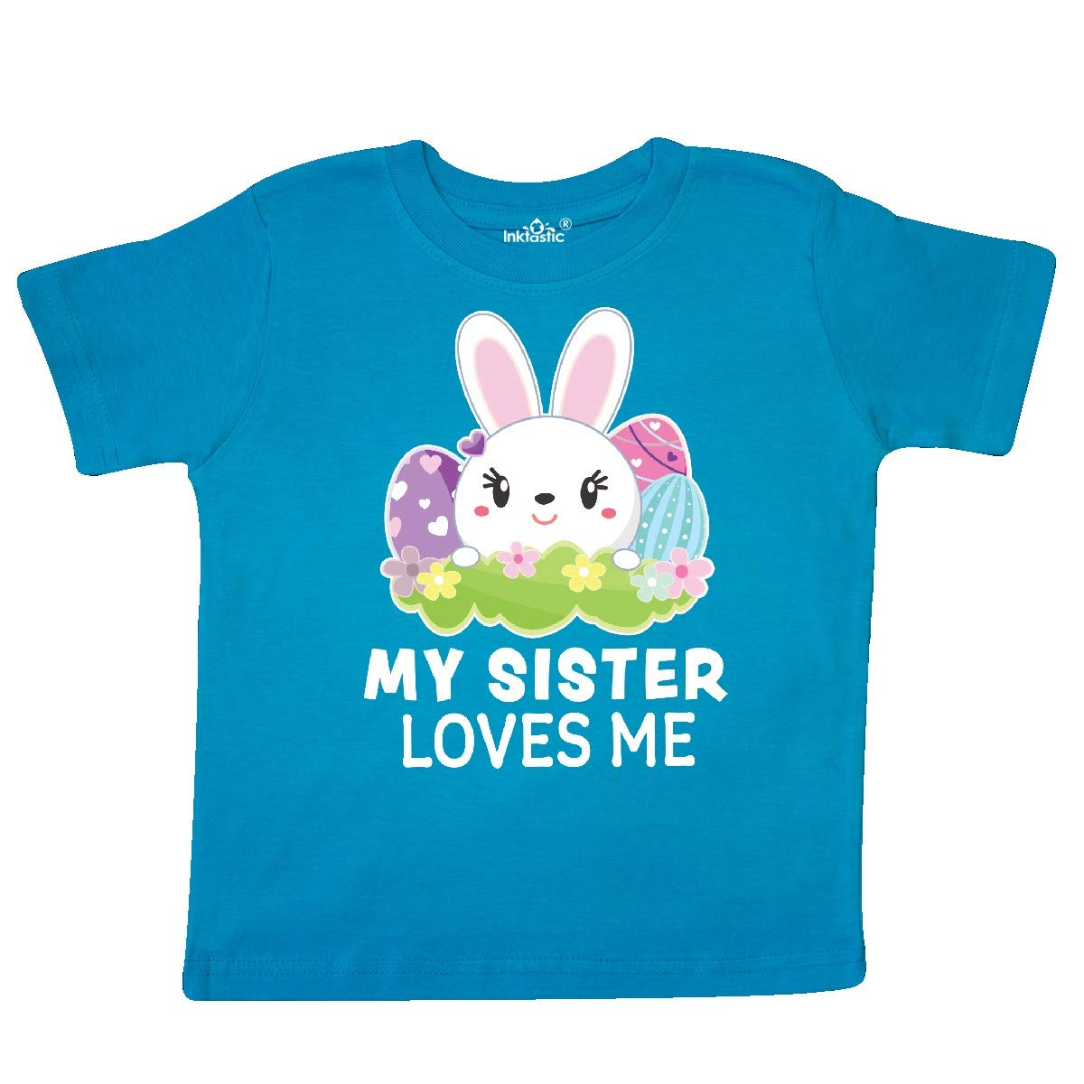 inktastic My Sister Loves Me with Bunny and Easter Eggs Toddler T-Shirt