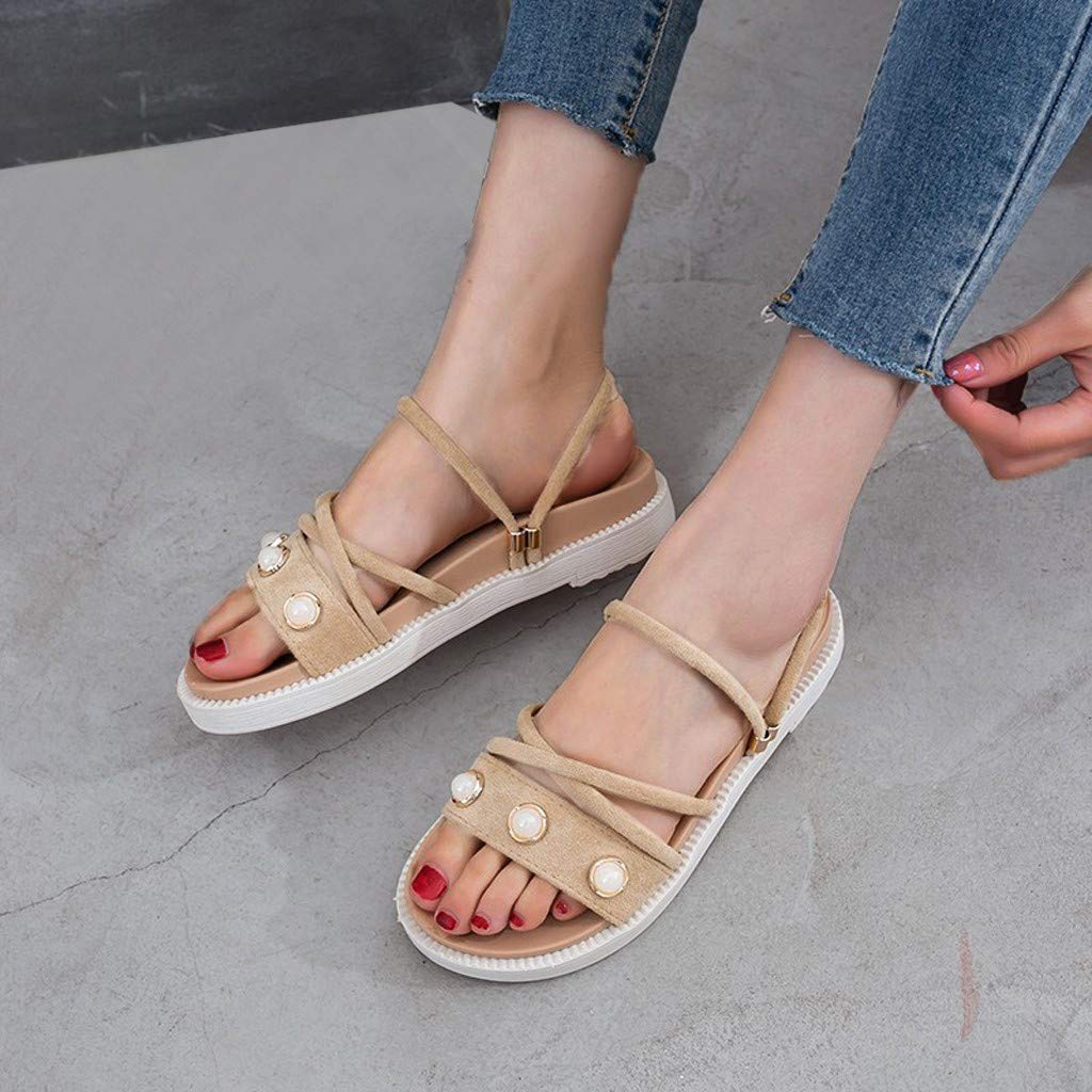 ZOMUSAR New! 2019 Women's Summer Casual Fashion Flat Bottom Roman Round Head Non-Slip Slippers Beige by ZOMUSAR (Image #2)