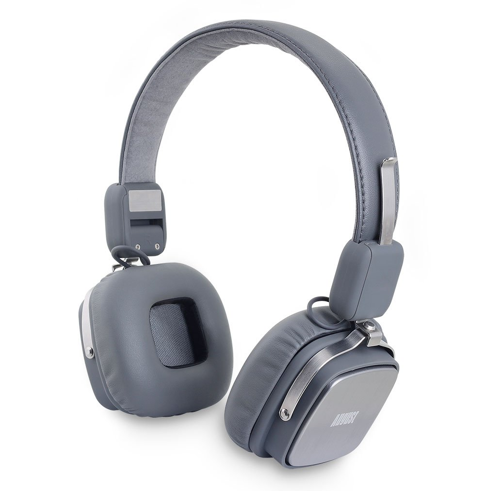 August EP634 – Bluetooth Wireless Stereo Headphones – On Ear Cordless Headphones with 3.5mm Audio In, Rechargeable Battery and Built-in Microphone – Android PS3 iOS Windows Compatible Gray