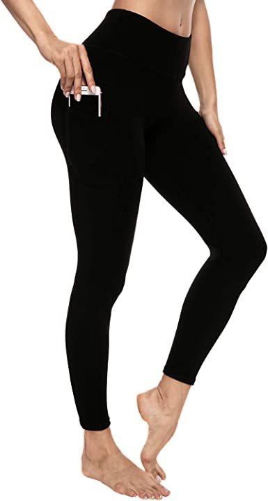 Waisted Tummy Control Workout Leggings with Pockets ARC Perfect Women/'s Basic Yoga Pants