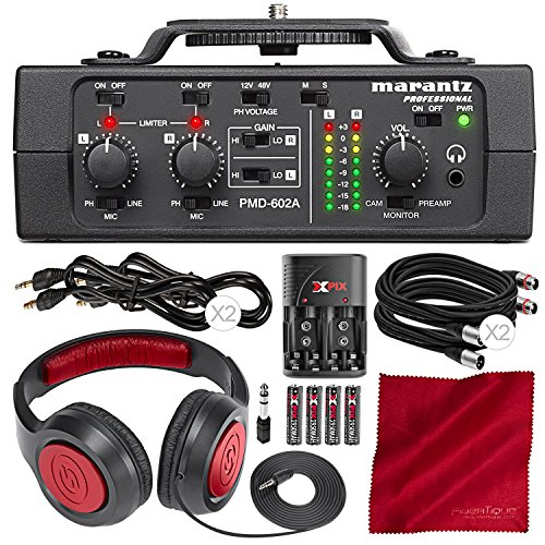 Marantz Professional PMD-602A 2-Channel DSLR Audio Interface with Samson Closed-Back Headphones and Deluxe Accessory Bundle ()