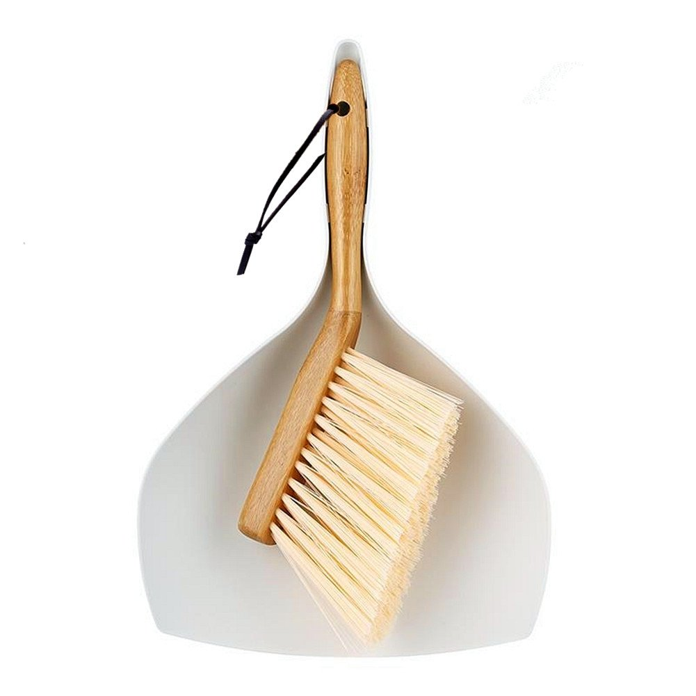 Huibot Dustpan and Brush Set Comfort Grip Multi Function Broom with Bamboo Handle