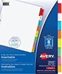 "Avery Big Tab Insertable Dividers for 3 Ring Binders, 9"" x 11"", 8 tabs, Multi-colour, 1 Set, (11222)"