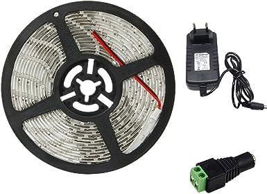 Tira de luces LED a prueba de agua, SMD 2835 5M 300leds 60leds / m Tira de luces de cinta de iluminación flexible blanca, enchufe de EE. UU. yd (Color : Verde):