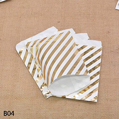 LIMMC 25/50Pcs Gold Silver Dot Stripe Paper Food Gift Candy Bar Bag For Birthday Wedding Party Craft Bag Packaging Baby Shower Favors,B04