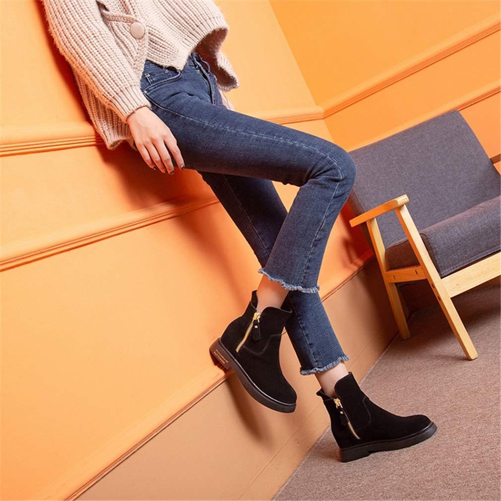 YAN Damenstiefel Herbst Winter Chelsea-Stiefel aus Wildleder Doppelte Doppelte Doppelte Reißverschlussschuhe Matte Leather Stiefelies 075682
