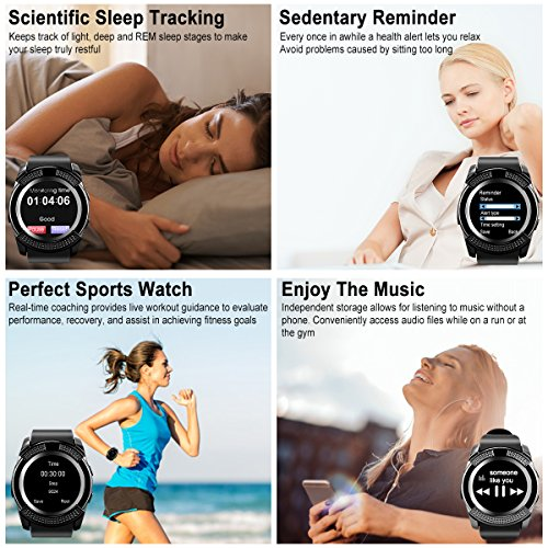 Smart Watch,Bluetooth Smartwatch Touch Screen Wrist Watch with Camera/SIM Card Slot,Waterproof Phone Smart Watch Sports Fitness Tracker for Android iPhone IOS Phones Samsung Huawei for Kids Women Men by Topffy (Image #2)