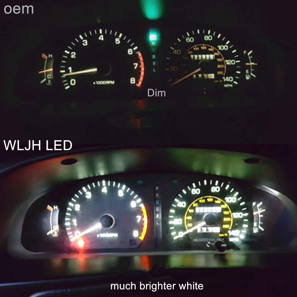 WLJH Blue Instrument Panel Cluster Speedometer Tach Gauge Odometer Oil Temp Dashboard Indicator Light Bulb LED Package for Wrangler TJ 2001-2006