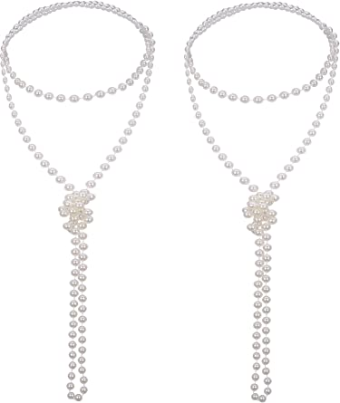 Flapper Beads Pearl Necklace 20/'s Dress Up Halloween Costume Accessory 2 COLORS