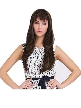 Meylee Pelucas Peluca para mujer Moda largo y rizado pelo negro Natural Real con una gorra