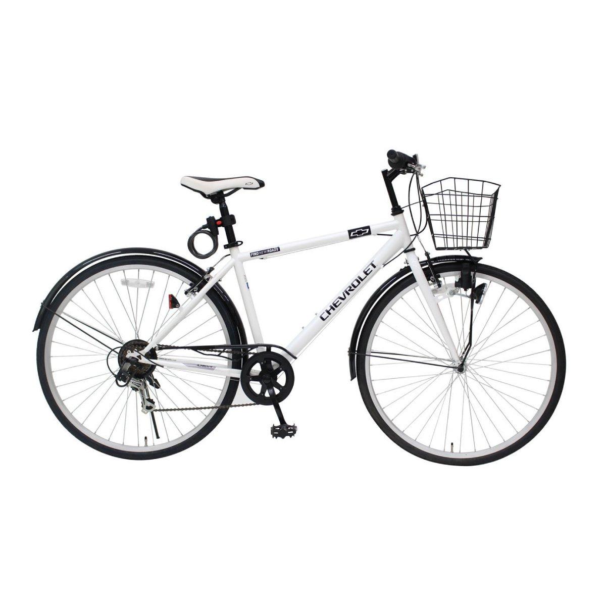 自転車 カゴ付き おしゃれ シボレー 700Cクロスバイク 6段ギア ホワイト CROSSBIKE700C6SF MG-CV7006F-RL B07BPCLD9T