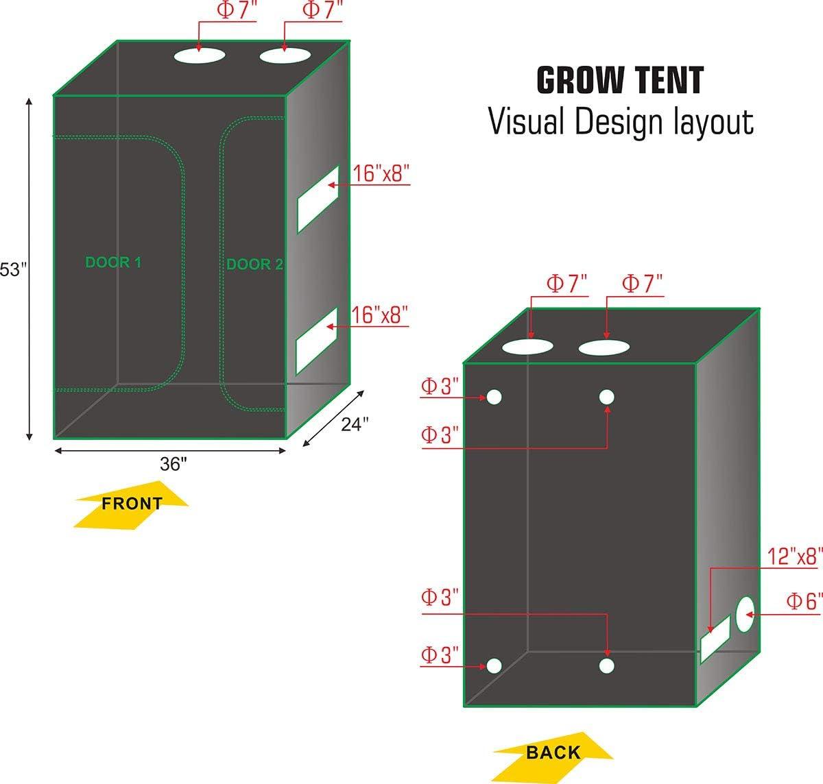 Grow Light Hangers Trellis Netting Indoor Plant Grow Tent Kit Hongruilite 36x24x53 2-in-1 Grow Tent Room w//Waterproof Floor Tray Digital Hygrometer 24 Hour Timer 60mm Bonsai Shears