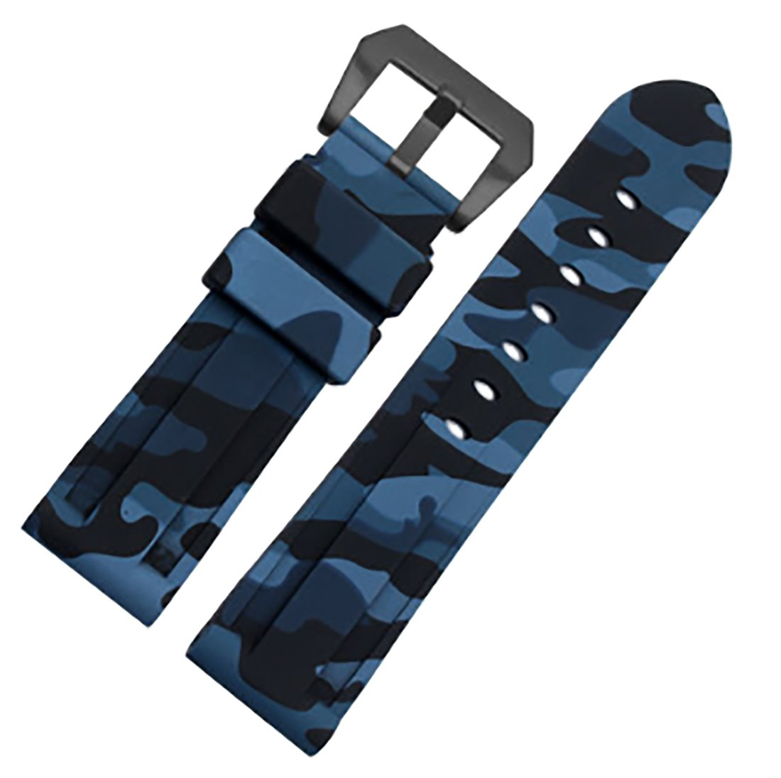 24mm Camouflage Diver Rubber Silicone Watch Band PVD Tang Buckle Strap Fits For Panerai Luminor (Blue(Black buckle))