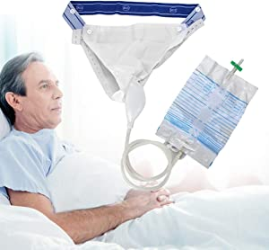Silicone Urine Collector with 2 Urine Catheter Bags, 3 Type Optional for Man Woman Elderly (Men Type)