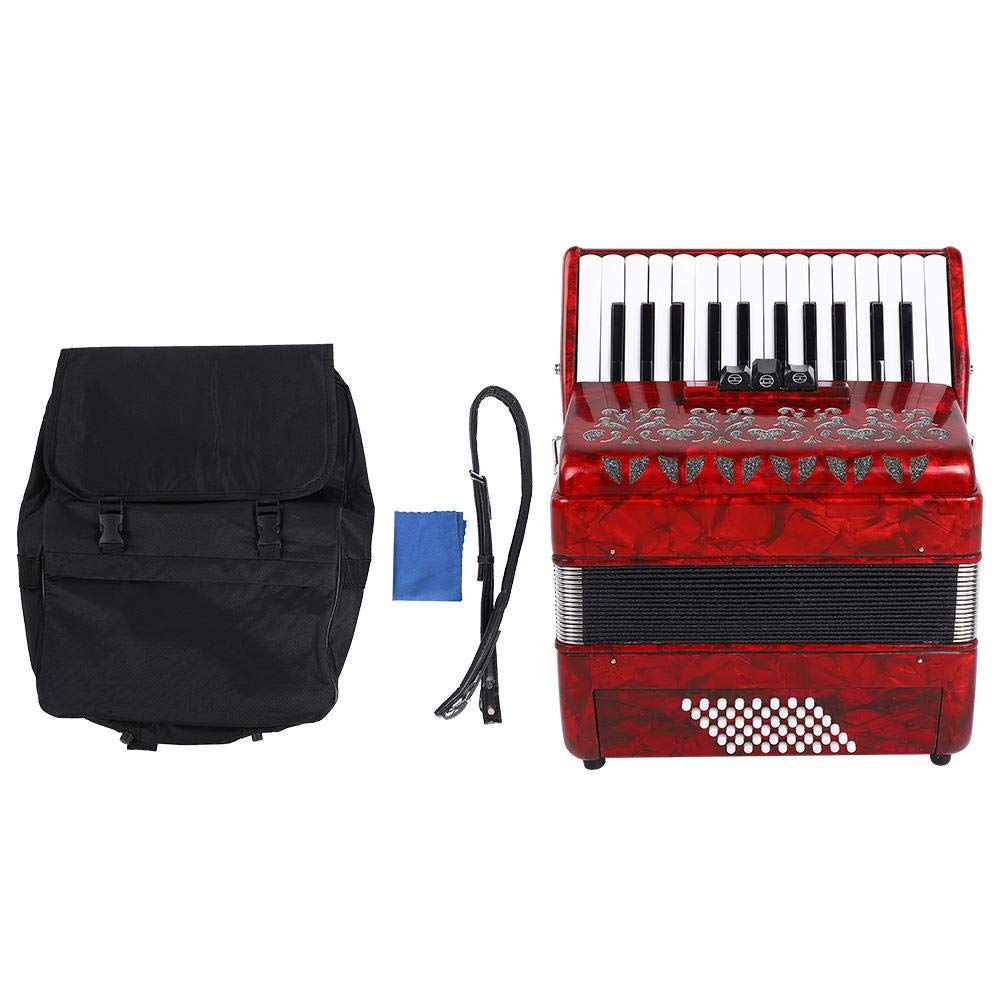 Bnineteenteam 26 Key 48 Bass Accordion with Sheepskin Bellows Strap and Bag(Red) by Bnineteenteam