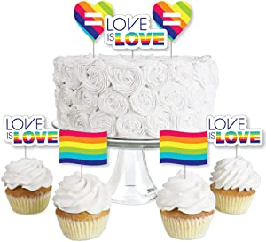 Love is Love - Gay Pride - Dessert Cupcake Toppers - LGBTQ Rainbow Party Clear Treat Picks - Set of 24