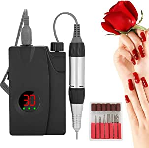 Nail Drill Machine, Lcd Display Screen Rechargeable Cordless Mini Portable Nail Polish Manicure Set Suitable for Professional Use and Home Use(AU Plug)