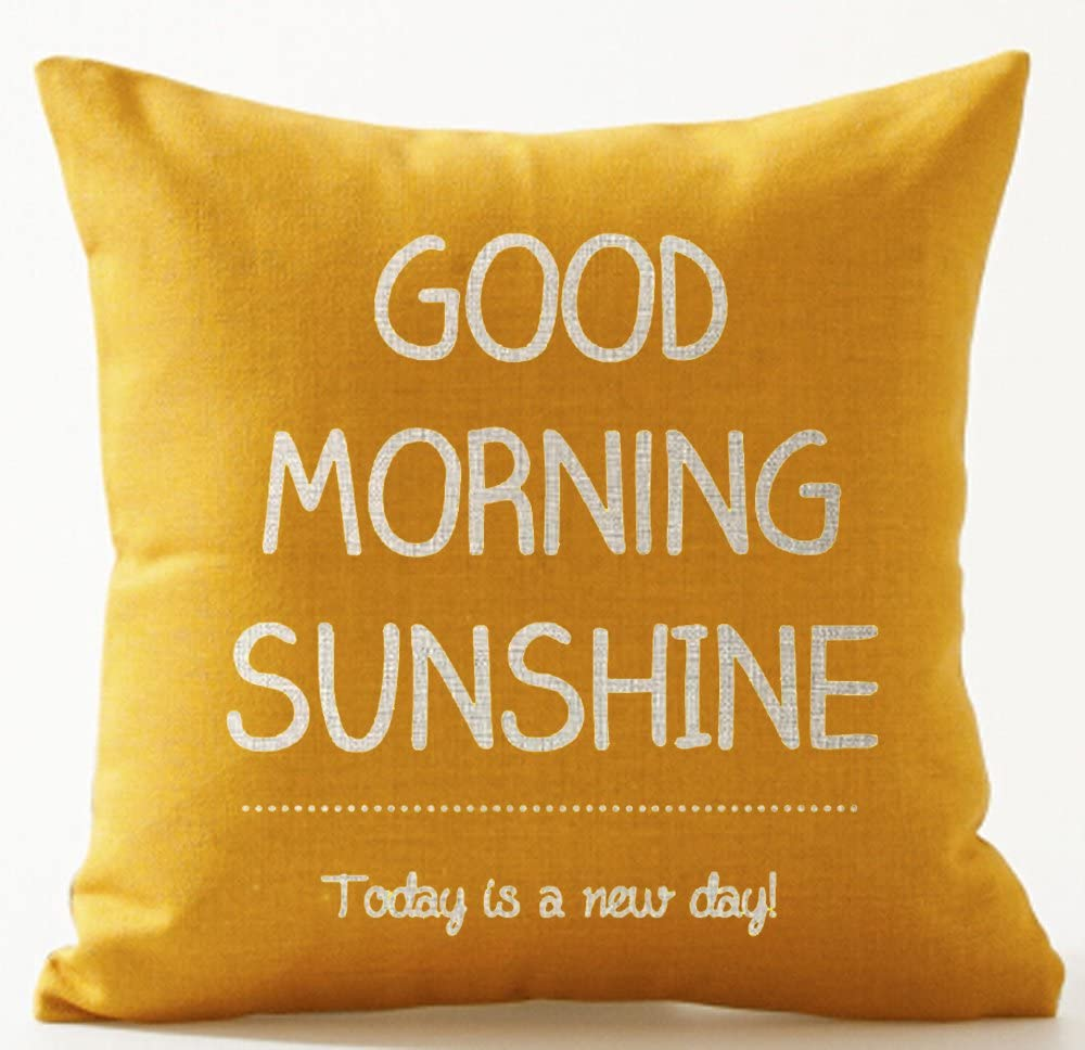 Nordic Warm Sweet Funny Inspirational Sayings Good Morning Sunshine Today Is A New Day Yellow Cotton Linen Decorative Home Office Throw Pillow Case Cushion Cover Square 20 X 20 Inches
