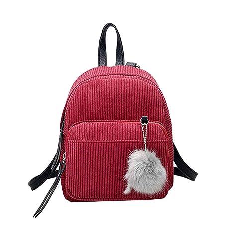 Moda coreana mujeres niña pana color sólido mochila bolso de hombro de la vendimia correa ajustable