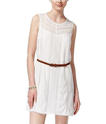 e865f9aa9 American Rag Womens Crochet Trim Shift Dress Off-White S - Juniors ...