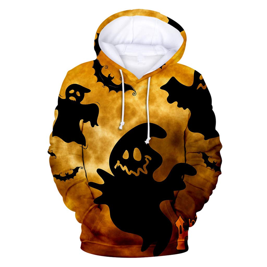 FEDULK Unisex Halloween Costume Realistic 3D Digital Print Christmas Pullover Hooded Hoodies Sweatshirt(Yellow1, Small) by FEDULK
