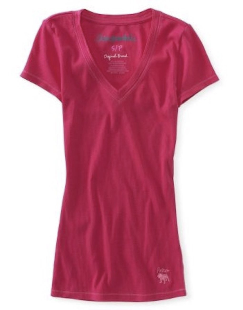 Aeropostale Womens V-Neck Stretch Ribbed Solid T-Shirt Pink Medium