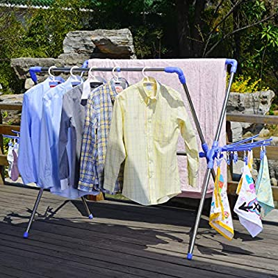 Hans&Alice Collapsible Laundry Drying Rack with Hooks,Clips and Shoe Dryer for Indoor/Outdoor (Laundry Drying Rack) - Compact but Wide Enough: can stretchable from 35.4-inch to 59.1-inch,wide enough to accommodate larger items like blankets and comforters,can hold as much as 80lbs.But when not in use it take up very little space. Lightweight but Sturdy: lightweight enough for one person to carry easily or fold/unfold but sturdy as long as you balance your items evenly. Multifunction:10 windproof hooks, 20 clips and 2 shoe dryer racks included,windproof hooks and clips can be used for drying smaller things like socks and underwear etc;2 shoe drying racks for 4 pairs of shoes. - laundry-room, entryway-laundry-room, drying-racks - 61wBjNSsYVL. SS400  -