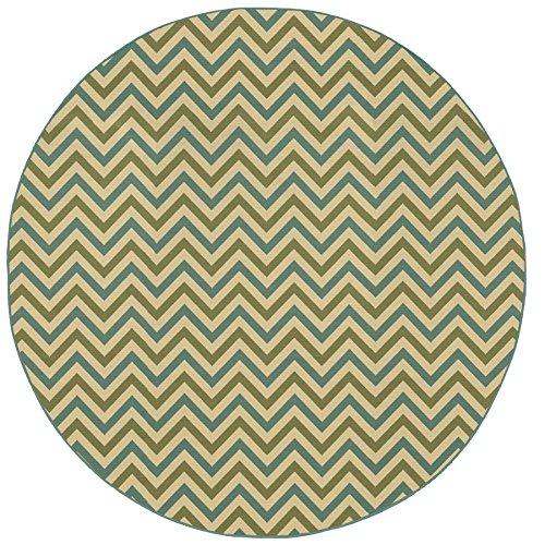 (Oriental Weavers 4593U Riviera Round Area Rug, 7-Feet 10-Inch, Green/Blue)