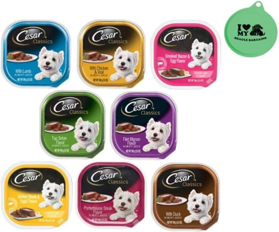 Cesar Classic Loaf in Sauce Wet Dog Food - 8 Flavor Variety Bundle, 3.5 Ounces Each - Pack of 8 Plus Can Cover (9 Items Total)