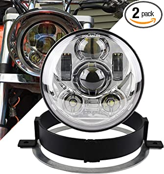 Black Akmties 5.75 inch Round LED Motorcycle Headlight Kit with Bracket and Hardware VTX 1300 Plug and Play Fit for Honda 2002-2008 VTX 1800
