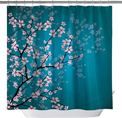 Oriental Asian Pattern Shower Curtain Fabric Decor Set with Hooks 4 Sizes