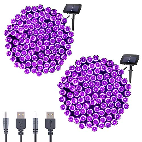 Qunlight Solar Fairy String Lights 72ft 200 LED Outdoor Waterproof USB Solar Powered 2 Modes with Timer Function Decorative Lighting for Patio Law Xmas Garden Homes Party Decore(Purple 2pcs) from Qunlight