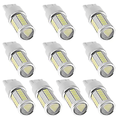 10-Pack 7443 7440 T20 33-SMD RV Camper Turn Signal Light Stop Light Xenon LED Bulbs 6000K White 12V-24V: Automotive