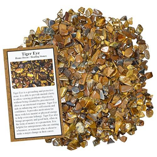 (Digging Dolls: 1 lb of Tumbled Tiger Eye Chip Stones - Polished Rocks for Crafts, Art, Vase Filler, Decoration, Reiki, Crystal Jewelry Making and More!)