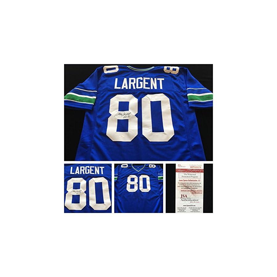 Steve Largent Seattle Seahawks Signed Autograph Blue Jersey. JSA COA